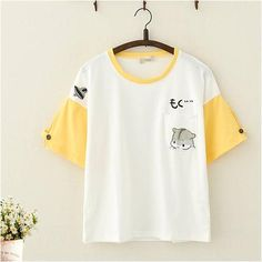 Get this Kawaii Simple Japanese Kitten Print Two-toned Buttoned Tee Shirt. This loose short sleeve round neck t-shirt for women has a small front pocket. Kawaii Shirts, Kawaii Clothes, Kawaii Fashion, Cute Fashion, Fashion Styles, Teen Fashion Outfits, Cool Outfits, Simple Shirts, Looks Cool