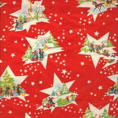 Vintage Christmas Wrapping Paper circa 1950s via Etsy