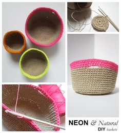 Nice crochet baskets made with natural jute yarn. I like the combination of natural fiber with bright cotton yarn! Designed by Construction Documents.