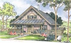 The Cordell home plan is a two story, cottage style house plan with 1306 total living square feet. A wide, partly covered deck wraps around two sides of this small vacation retreat cabin home plan. The vaulted great room is naturally bright during the day. It's fully open to the nook and partially open to the kitchen along an eating bar that fronts the sink. Two bedrooms are downstairs; a loft, storage, and bathroom are above.