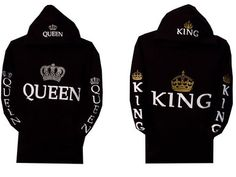 Amazon.com: Couple Matching King and Queen Hoodie Color Black ...