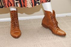 80s JOAN & DAVID camel brown sz 8 leather ankle by ANIMALVINTAGE