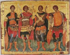 Serbian art / George Mitrofanovic / Icon of saints Demetrius, George, Artemius and Procopius from Chilandar monastery. Orthodox Icons, Mythology Art, Byzantine Art, Art, Best Icons, Warrior, Art Icon, Art History, Sacred Art