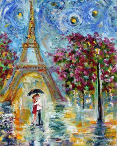 Paris Romance Spring Eiffel Tower painting in oil by Karensfineart