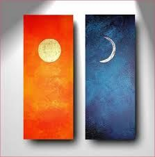 Items similar to Abstract Painting Decorative Arts Diptych gold leaf Day and Night real gold 22 carat silver leaf XXL size orange blue sun moon on Etsy Sun Painting, Couple Painting, Mini Canvas Art, Diy Canvas, Painting Inspiration, Diy Art, Watercolor Paintings, Art Decor, Art Projects