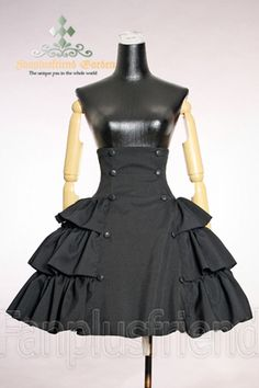 Gothic-Lolita-Skirt, high waist-ed with buttons