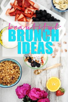 Hosting a brunch party doesn't have to be difficult or time consuming.  Check out these pretty brunch ideas perfect for Mother's Day Brunch, bridal shower ideas and more.  I love easy party ideas! #brunch #partyideas #DIYPartyIdeas #breakfast #PinkPeppermintDesign