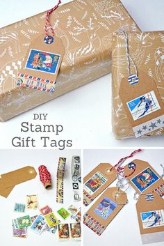 Make some lovely personalised and unique Christmas tags using used postage stamps.