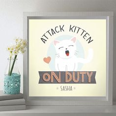 Attack Kitten On Duty Typography Print - Customize Pet Color and Name - Great Gift for Cat Lovers! #cat #kitten #petlover #petart #custom #gift #animallover #rescue #pets #customize #personalize #meow #kitty #crazycatlady