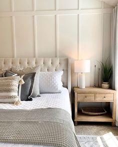 Tan Bedroom, Home Decor Bedroom, Cream And Grey Bedroom, Beige Bedrooms, Bedding Master Bedroom, Luxurious Bedrooms, Beige Headboard, Bedroom Headboards, Pottery Barn Bedrooms
