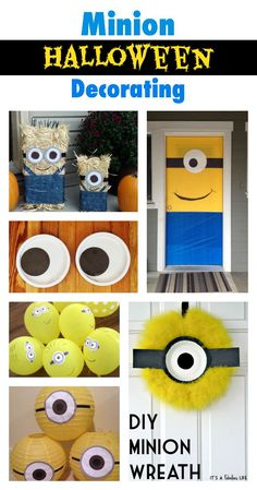 Minion Halloween Decorating Ideas - for your front door and front porch Diy Minion Decorations, Halloween Door Decorations, Halloween Party Themes, Minion Theme, Minion Birthday, 3rd Birthday, Minion Halloween Costumes, Halloween Crafts, Halloween 2017