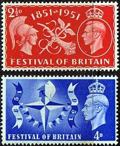 Great Britain 1951 1951 Festival of Britain Fine Mint SG 513 4 Scott 290 1 Other British Postage Stamps HERE
