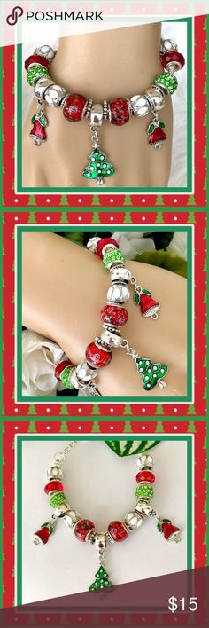 🎁🎄🎁 HANDMADE XMAS CHARM BRACELET 🎁🎄🎁 🎁🎄🎁 Original handcrafted design: Festive charm starts with red beads that have bits of sparkle throughout,  green beads with crystal rhinestones,  and drum type white and silver beads.  In the center is a Xmas tree charm and along each side are red bell charms.  There are also silver spacers.  It has an adjustable snake chain bracelet with lobster claw clasp.  Cute and keeping with the holiday spirit. 🎁🎄🎁 Fashion Flair Jewelry Bracelets