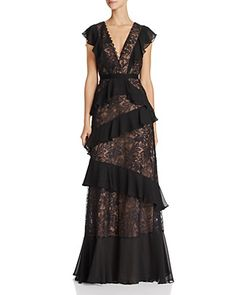 Bcbgmaxazria Ruffle Lace Gown In Black Designer Evening Gowns, Lace Evening Gowns, Lace Ball Gowns, Formal Evening Dresses, Formal Gowns, Couture Dresses, Fashion Dresses, Cocktail Gowns, Evening Cocktail