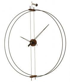 Horloge murale en acier et noyer 35.5