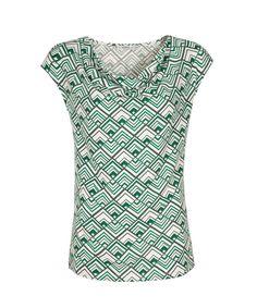 Cowl Neck Knit Top, Green Print