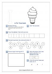 Lowercase Alphabet Recognition Activity Worksheet - Small Letter - i for icecream Alphabet Writing Practice, Alphabet Tracing, Pre Writing, Writing Skills, Letter I Activities, Free Printable Worksheets, Printable Alphabet, Printables, Repetition Of Words