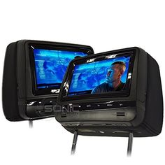 Sonic Audio HR7A Universal LeatherStyle Car DVDMultimedia Headrest ScreensMonitors with USBSD and Games  Includes 2 x Wireless Headphones  Black Colour * You can find more details by visiting the image link. (Note:Amazon affiliate link)