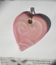 40 OFF  Swirling Hearts Miami Pink  Earthenware by Clayworksnh, $3.30