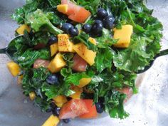 massaged kale salad with blueberries, mango and creole tomato   ///////    Raindrops & Rotini blog
