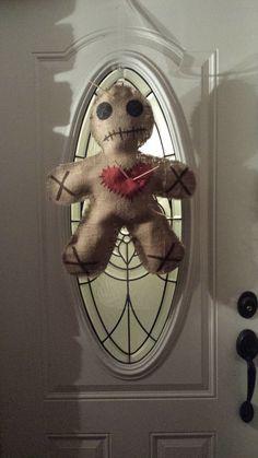 voodoo doll burlap door decoration by CraftyMetryMomma on Etsy, $25.00
