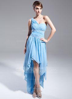 [US$ 136.99] A-Line/Princess One-Shoulder Asymmetrical Chiffon Prom Dress With Beading Cascading Ruffles (018015019)