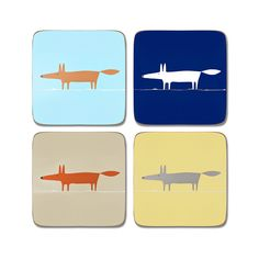 Brighten up meal times with a set of 4 quirky coasters featuring the popular Mr Fox motif. Each set comes in an indigo, orange and neutral, duckegg blue and orange and charcoal and yellow coaster colourways. Matching items available.