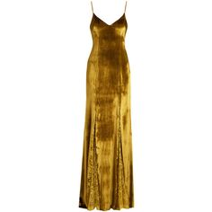 Galvan Gold Lace-Panelled Velvet Gown ($2,495) ❤ liked on Polyvore featuring dresses, gowns, gold, drape dress, gold evening dresses, velvet ball gown, deep v-neck dresses and gold ball gown