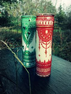 Holiday Christmas Yule Candles Bohemian Henna Mehndi by Behennaed  www.facebook.com/behennaed  www.facebook.com/khartography                                                                                                                                                     More
