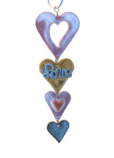 Mini Clay Hearts Hanging String 4  Wall Hanging with by SallysClay, $15.00
