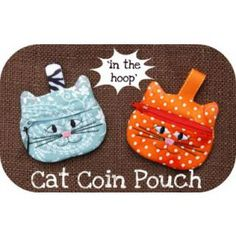 In The Hoop :: Bags, Cases & Wallets :: Cat Coin Pouch - Embroidery Garden In the Hoop Machine Embroidery Designs