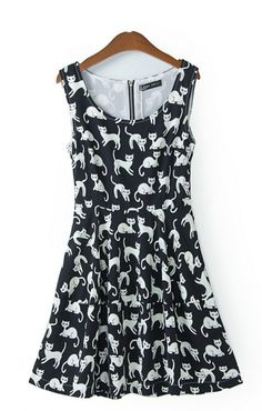 To find out about the Black Sleeveless Cats Print Tank Dress at SHEIN, part of our latest Dresses ready to shop online today! Tank Dress, Dress Skirt, Skater Dress, Cat Dresses, Moda Casual, Dress Picture, Latest Dress, Visual Kei, Look Cool