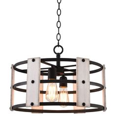 """Kira Home Madera 17"""" 4-Light Modern Farmhouse Chandelier + Wood and Metal Round Shade, 2 Wood Panel Styles, Textured Black Finish"""