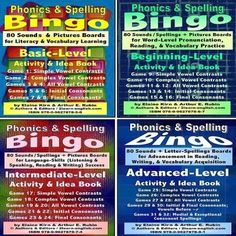 Phonics and Spelling Bingo Activities; 4 Skill Levels (Basic Beginning Intermediate Advanced) and Ideas Books by #2LearnEnglish- http://ift.tt/28Snbbr #learnenglishbook