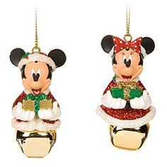 Santa Mickey and Minnie Mouse Jingle Bell Ornament Set - - Mickey Christmas Collection Disney Christmas Songs, Minnie Mouse Christmas, Disney Christmas Ornaments, Christmas Jingles, Magical Christmas, Very Merry Christmas, Christmas Books, Christmas Time, Xmas