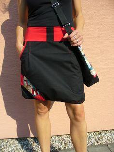 Sukně Sukně sportovního střihu do A na stažení dole gumkou. Pas do pružného lemu z elastického úpletuv červené barvě. Boční kapsy,ozdobné řešení na boku. Materiál sukně je černá bavlněná látka s příměsí elastanu. Lemování a štepování v červené barvě. Tato sukně je velikost M . Pas-82cm,zadeček-98cm,celková délka-48cm. Tuto sukni vám ráda ušiji přímo ...