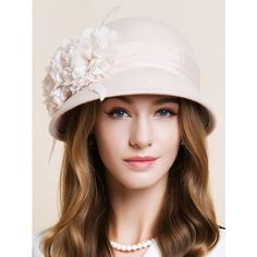 Handmade Flourishing Flower Feather Cloche Hat ($28) ❤ liked on Polyvore featuring accessories, hats, flower hat, cloche hat and feather hat