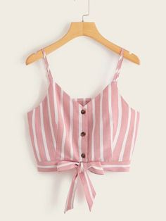 To find out about the Striped Button Front Knot Hem Cami Top at SHEIN, part of our latest Tank Tops & Camis ready to shop online today! Girls Fashion Clothes, Teen Fashion Outfits, Look Fashion, Trendy Outfits, Girl Fashion, Girl Outfits, Casual Skirt Outfits, Crop Top Outfits, Cute Summer Outfits