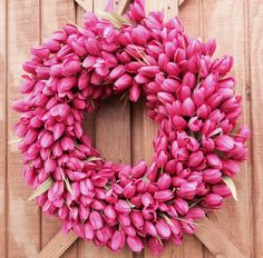 Hot Pink Tulip Wreath  Easter Wreath  Mother's by Girleeethings