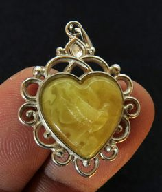 Natural Baltic Amber Carved Dove & 925 Sterling от BalticLand