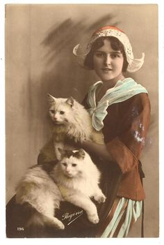 vintage photo-Dutch woman with 2 cats Photo Postcards, Vintage Postcards, Crazy Cat Lady, Crazy Cats, I Love Cats, Cool Cats, Album Vintage, Photo Souvenir, Catgirl