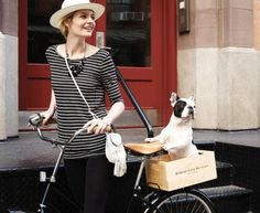 dog and bike and shirt and hat