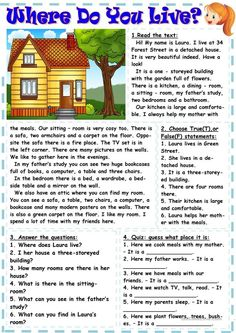 Where do you live? worksheet - Free ESL printable worksheets made by teachers English Teaching Materials, Teaching English Grammar, English Grammar Worksheets, English Writing Skills, English Reading, English Language Learning, English Lessons, English Vocabulary, Reading Comprehension Worksheets