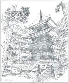 Japanese Drawings, Japanese Artwork, Japanese Tattoo Art, Architecture Concept Drawings, Asian Architecture, Japan Tattoo Design, Temple Tattoo, Cast Art, Ink Pen Drawings