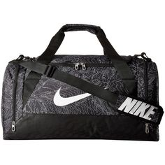 Nike Brasilia 6 Duffel Graphic Medium (Black/Black/White) Duffel Bags ($45) ❤ liked on Polyvore featuring bags and luggage