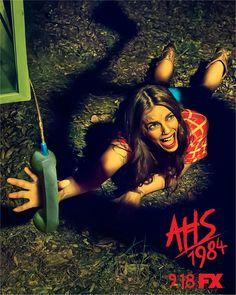 """FX has been unleashing brand new, retro-style posters for the slasher-themed """"American Horror Story: at a steady clip, and rather than writing indivi American Horror Story, Ahs, Horror Movie Trailers, Netflix Horror, Cheyenne Jackson, Anthology Series, Internet Movies, New Poster, Comics"""