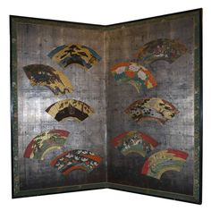 Japanese Two Fold Screen with Fans on Silver Leaf | From a unique collection of antique and modern paintings and screens at http://www.1stdibs.com/asian-art-furniture/paintings-screens/