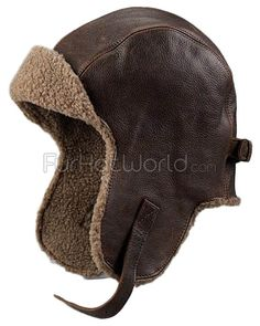 Jet cap Vintage Distressed Leather Pilot Hat: FurHatWorld.com
