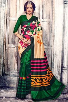 Green With Cream Art Silk Saree With Art Silk Blouse Price:  £ 29 Green with Cream, art silk printed saree with green, art silk blouse.  Embellished with embroidery. Saree with Fancy Pallu and Borderless ,Chinese Collar Blouse, Quarter Sleeve Blouse.  It comes with unstitch blouse, it can be stitched to 34,36,38,40 sizes.  http://www.andaazfashion.co.uk/womens/sarees/green-with-cream-art-silk-saree-with-art-silk-blouse-dmv9197.html