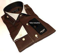 Brand New Men's Formal, Smart Italian Designer Brown Slim Fit Daniel Rosso Shirt